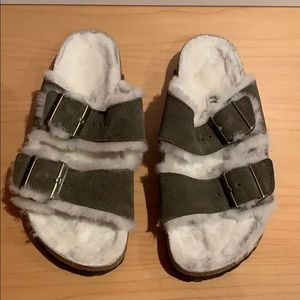 Birkenstock Women's Arizona Fur Slide SandalForest